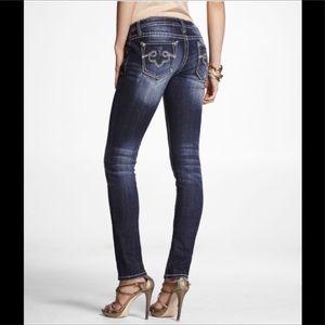 Express Rerock Brand Distressed Skinny Jeans